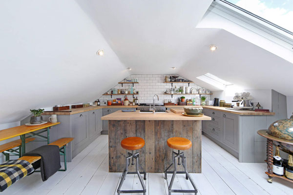 This attic kitchen is large enough for an island.