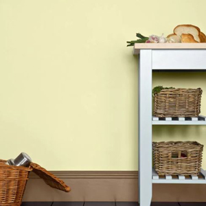 The light yellow colour on this wall is Pale Hound, by Farrow and Ball.