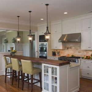 Traditional pendant lights are ideal for hanging over a kitchen island.