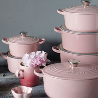 These pretty pastel pink coloured Le Creuset cooking pots are a stylish kitchen accessory.