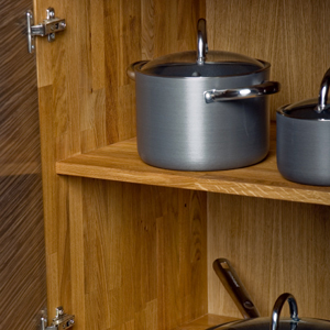Solid oak shelf packs contain two solid oak shelves as well as the appropriate supports.