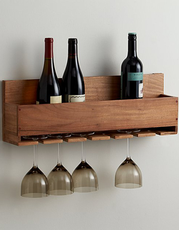 This kitchen wine rack has been made from acacia wood and can hold six bottles of wine.