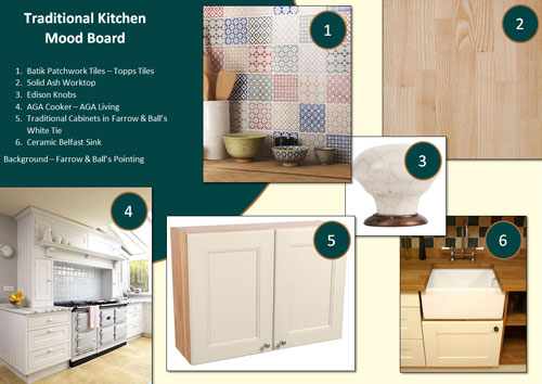 This traditional kitchen mood board offers inspiration for your own kitchen.