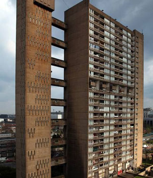 Trellick Tower is a grade II listed Brutalist tower block that was designed by Ernő Goldfinger