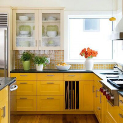 These Shaker doors have been painted in a rich, warm yellow.