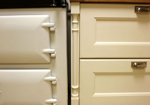 Pilasters add beautiful detail to a finished kitchen.