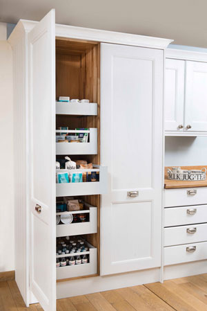 Using full height cabinetry to create a larder or pantry is a great way to add extra storage space in your kitchen.