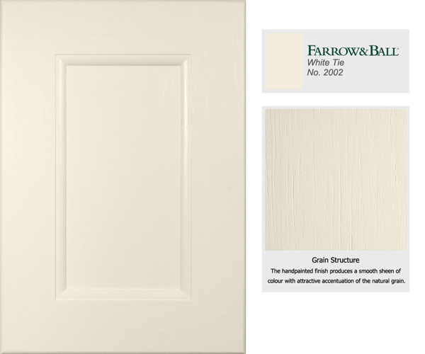 Yellow based neutrals such as Farrow & Balls White Tie are ideal for traditional style cabinet doors.