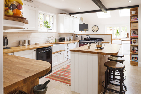 Farmhouse kitchens, like this, feature traditional styles, features and materials.