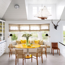 This breakfast nook has been located in a bay window to create a light and airy atmosphere.