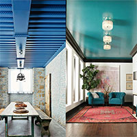 Two rooms with vibrantly coloured ceilings – blue and teal – contrast with neutral walls to provide an stunning impact