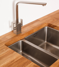 An Undermounted Sink for Oak Kitchens.