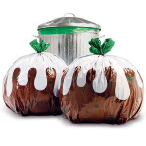 These Christmas pudding bin bags are a fantastic novelty option for all your festive waste disposal needs