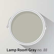 Lamp Room Gray looks excellent on wooden kitchen cupboards, especially when paired with warm white walls.