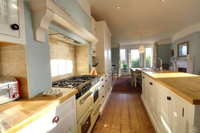 A guide to common layouts for solid oak kitchens solid for Galley kitchen ideas uk