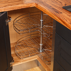 Corner Carousel wirework in a solid wood kitchen