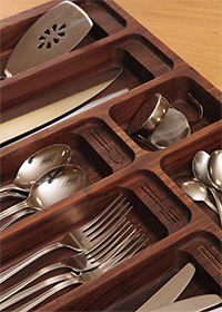 Solid American walnut cutlery tray insert for drawers