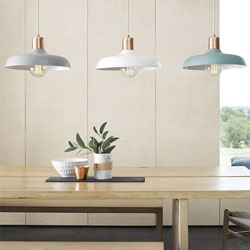 Low pendant lights offer a homely and traditional feel in this kitchen