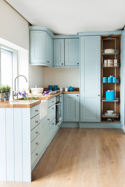 Farrow Balls Lulworth Blue Has Been Used For These Cabinets Creating A Fresh Look