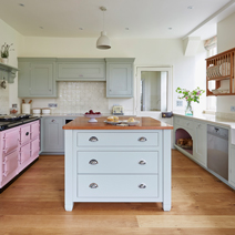 Use Mizzle on solid oak cabinet doors for a laid-back look in country kitchens.