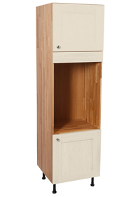 Our full height oven housing cabinet with two doors painted in Farrow & Ball's White Tie