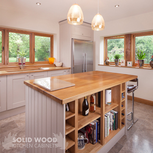 Full stave prime oak worktops with solid oak worktops painted in Farrow & Ball's Elephant's Breath.