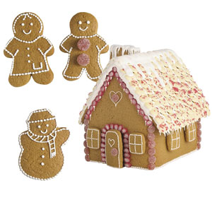 This gingerbread house cutter set contains the tools needed to create this delicious festive scene - just supply the ingredients!