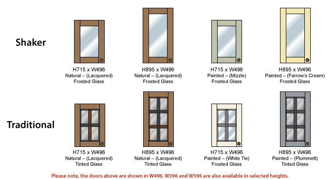 Glazed doors. Please note all glazed doors shown are width 500.