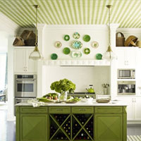 A green gingham statement ceiling with matching green island and decorations.