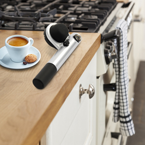 The Handpresso Pump is a conveniently light-weight espresso maker for use in solid oak kitchens or on your travels.