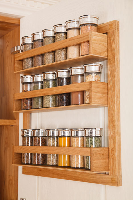 Spice Rack In Solid Wood Kitchens, Spice Rack For Kitchen Cabinet Door