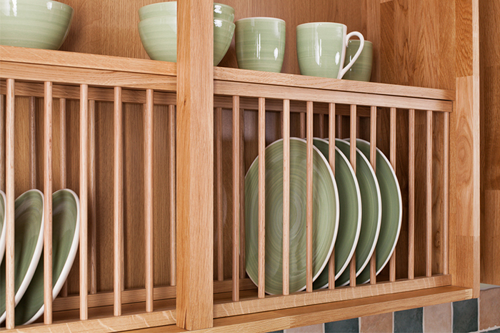 wooden plate racks for kitchen cabinets installing oak plate racks in solid oak kitchen cabinets 29479