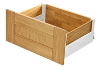 Intivo - Silk white pan drawer with oak inserts