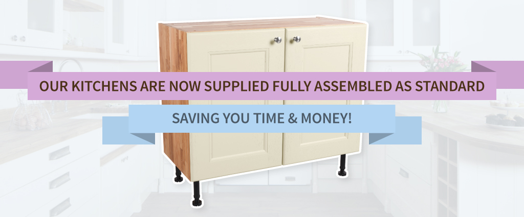 Pre-built solid oak kitchen cabinets now available with our assembly service