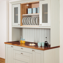Kitchen dresser made from oak cabinets, painted in Farrow & Ball's Mizzle.
