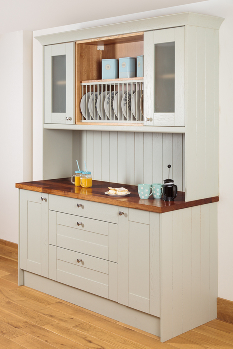 Delicieux Kitchen Dresser Made From Oak Cabinets, Painted In Farrow U0026 Ballu0027s Mizzle.