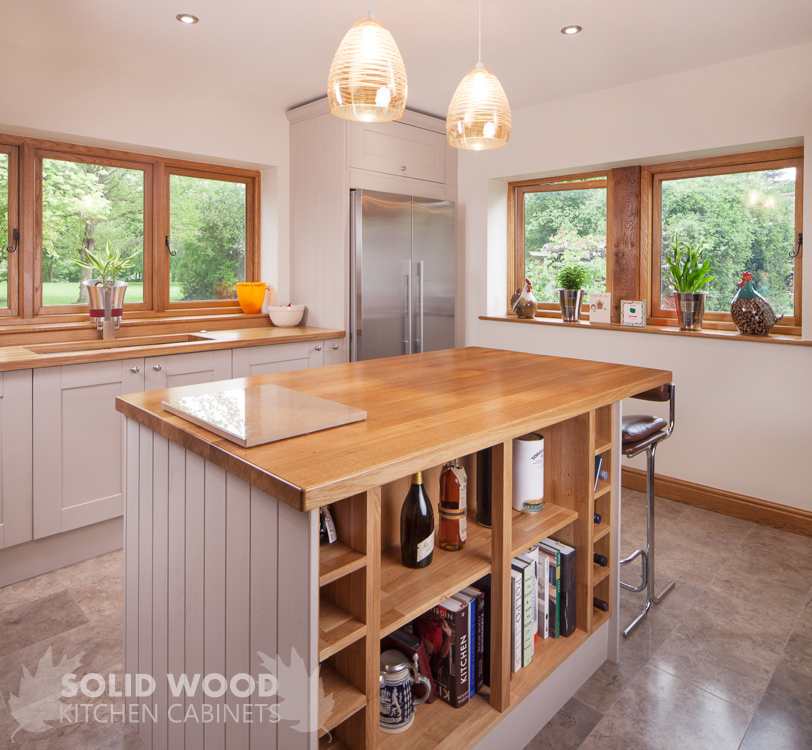 Burford Place Open Plan Kitchen With Breakfast Bar Island: Solid Wood Kitchen Cabinets