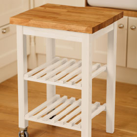 Wood kitchen trolley painted in New White by Farrow & Ball