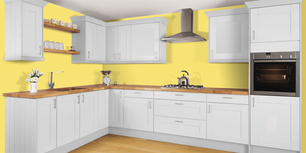 Yellow walls in a picture from our online kitchen creation tool