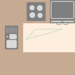 The kitchen work triangle in a U-shape kitchen