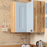 Solid oak L-shaped corner cabinets are available as wall units, utilising all the room available.