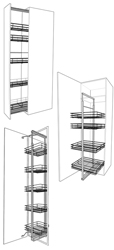 Soft close larder wirework, 3/4 height storage rack wirework and pull & swing pantry wirework for solid wood kitchens.