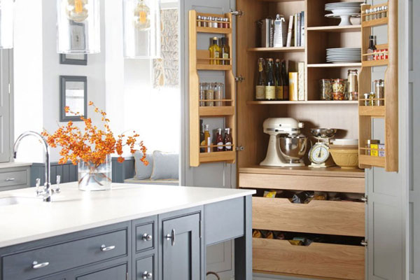 This larger cabinet has the room to accommodate small appliances, freeing up valuable work surface space