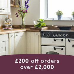 A bright, neutral kitchen with the details of our sale in the foreground