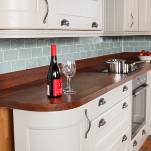 These light cabinets are the perfect contrast for richly coloured deluxe American walnut worktops