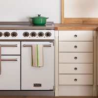 A white range oven in a country kitchen with oven gloves and a tea towel