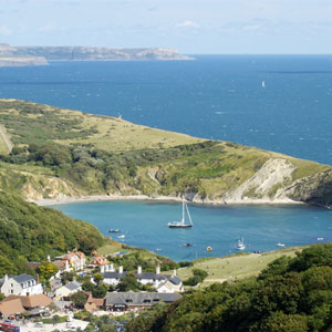 Lulworth Cove in Dorset on a summer's day