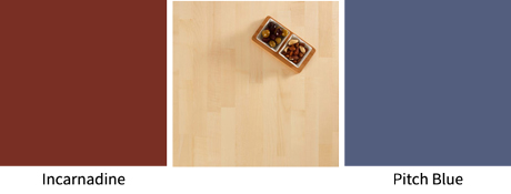 An ideal palette of colours to mix with maple worktops.