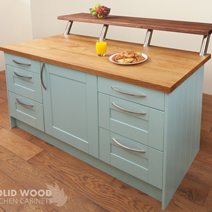 Solid wood kitchen painted in Blue Ground by Farrow & Ball solid wood kitchens.