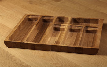 Solid oak cutlery drawer trays.
